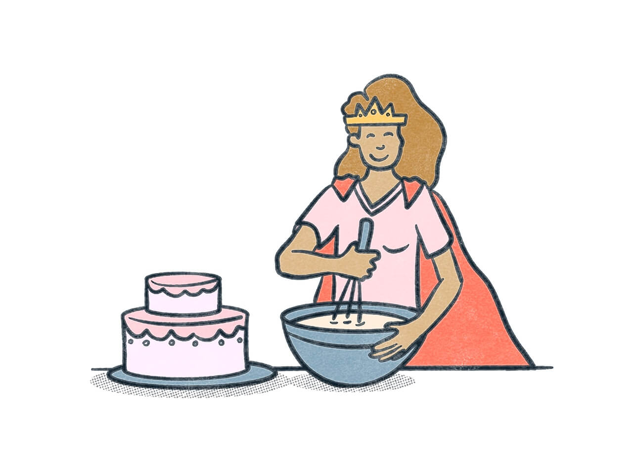 A person wearing a cape and crown mixing batter for a cake.