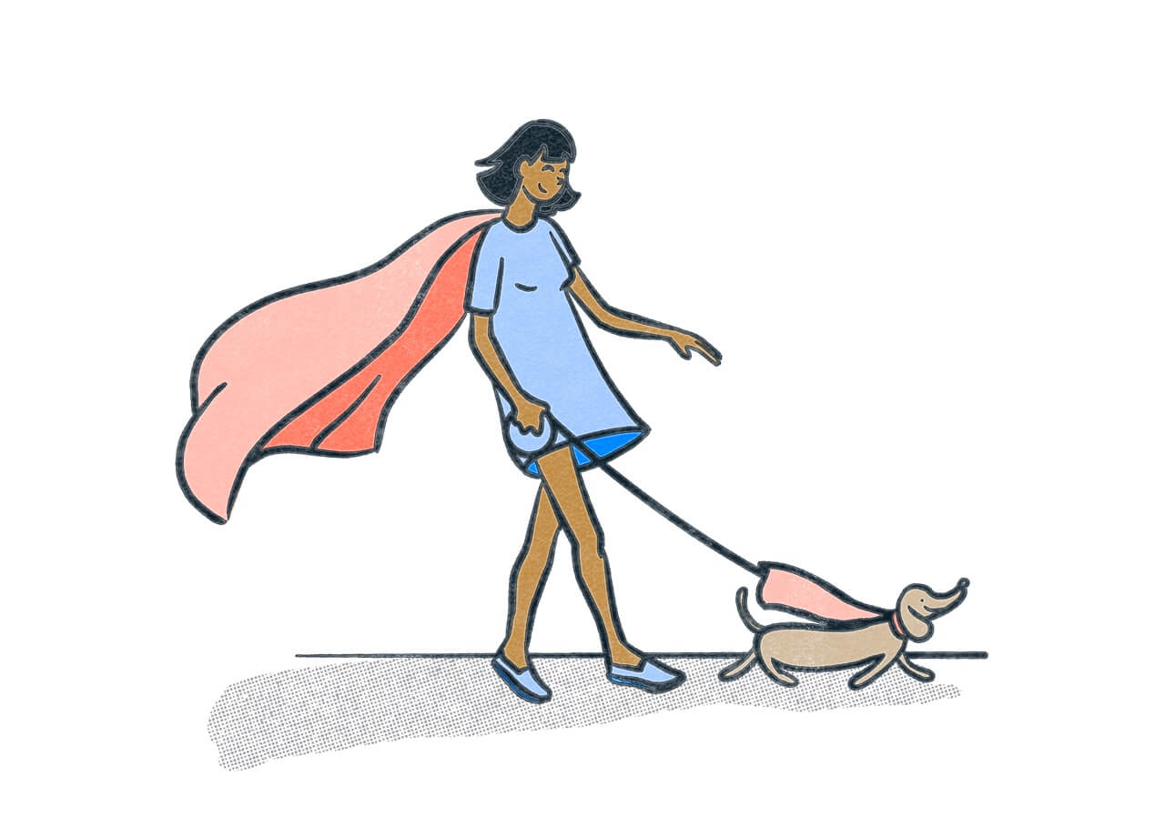 A person in a blue dress wearing a cape walking a small dog, also wearing a cape.