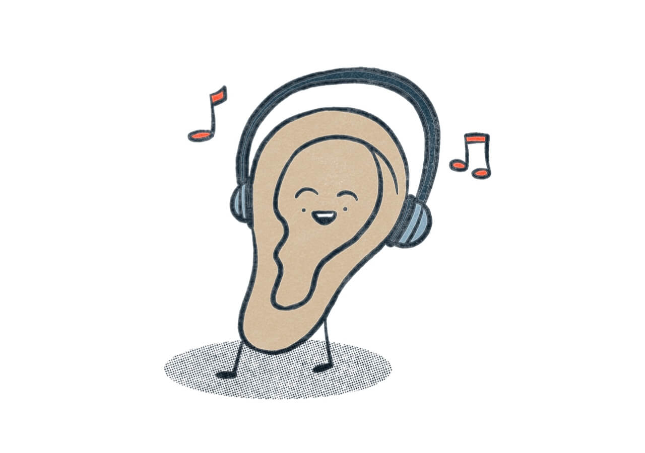 An ear wearing headphones listening to music. Illustration.