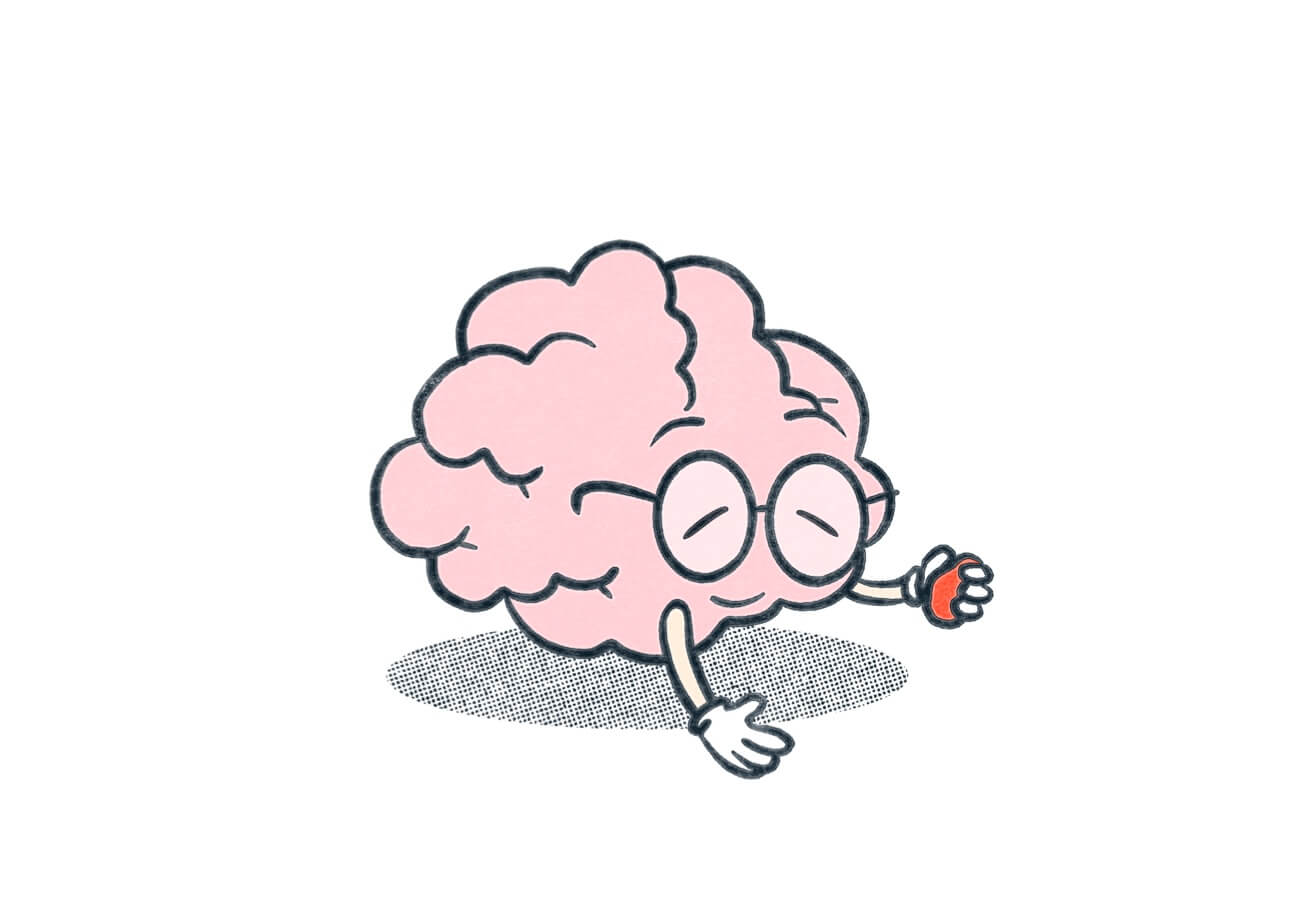 A brain wearing glasses and smiling while holding a stress ball. Illustration.