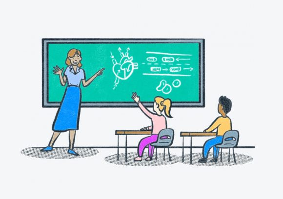 A teacher standing in front of a chalkboard with two students in a classroom. Illustration.