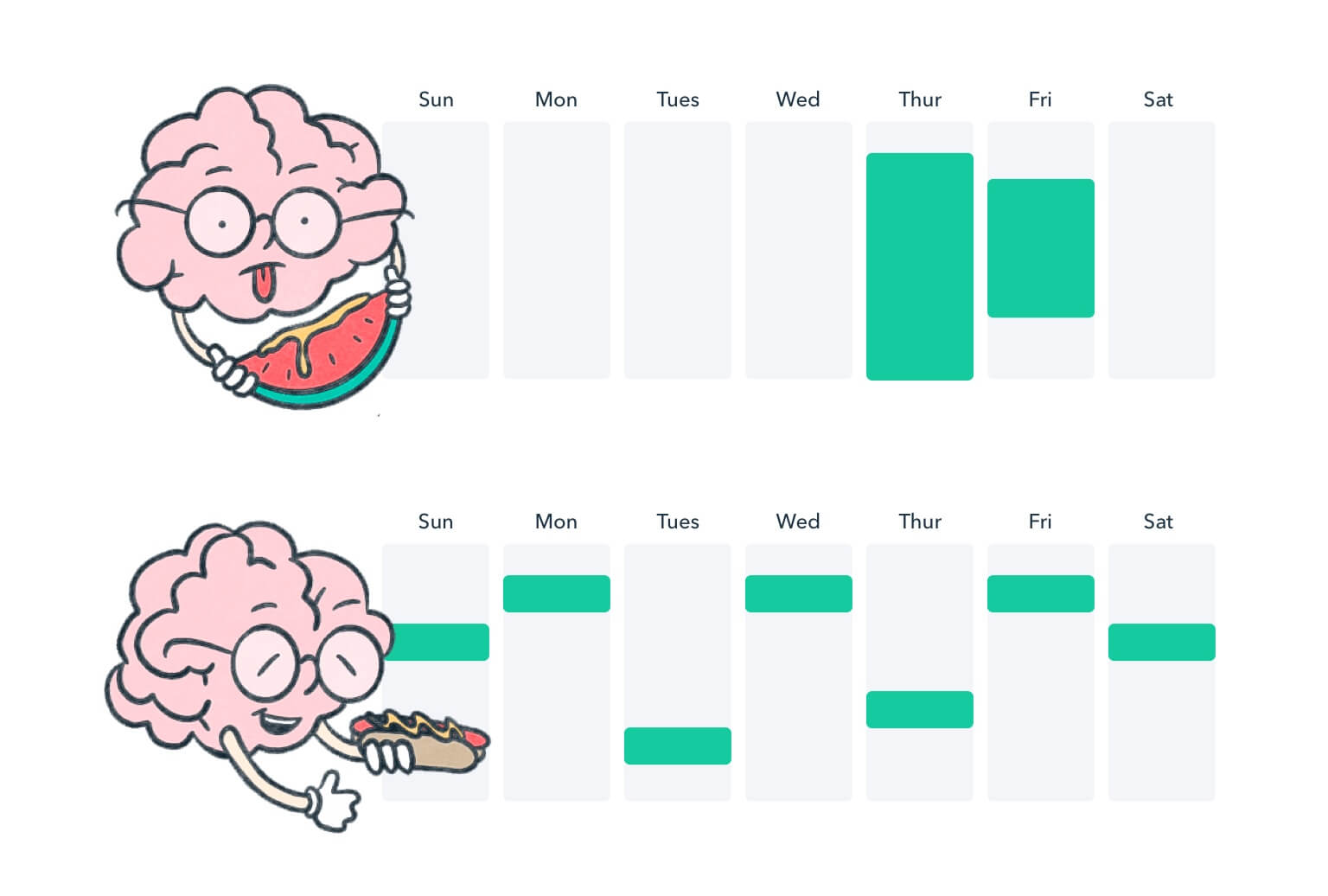 Next to weekly calendar of cramming studying is a brain character holding a watermelon with mustard. Next to a spread out study schedule is a brain character holding a hot dog with mustard.