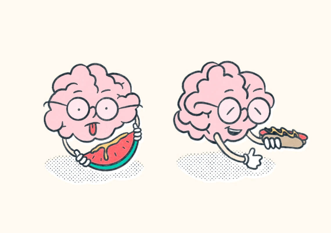 Two characterized brains. One holds a watermelon with mustard on it and one holds a hotdog with mustard. Illustration.