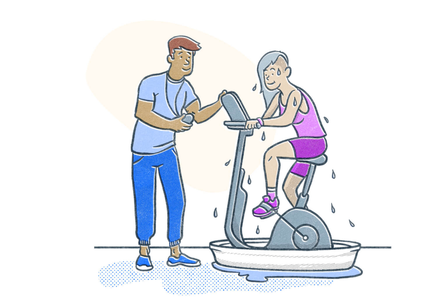 Certified Personal Trainer working with client sweating puddles on an exercise bike. Illustration.