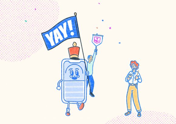 Pocket Prep phone mascot celebrating with two people while holding a sign. Illustration.