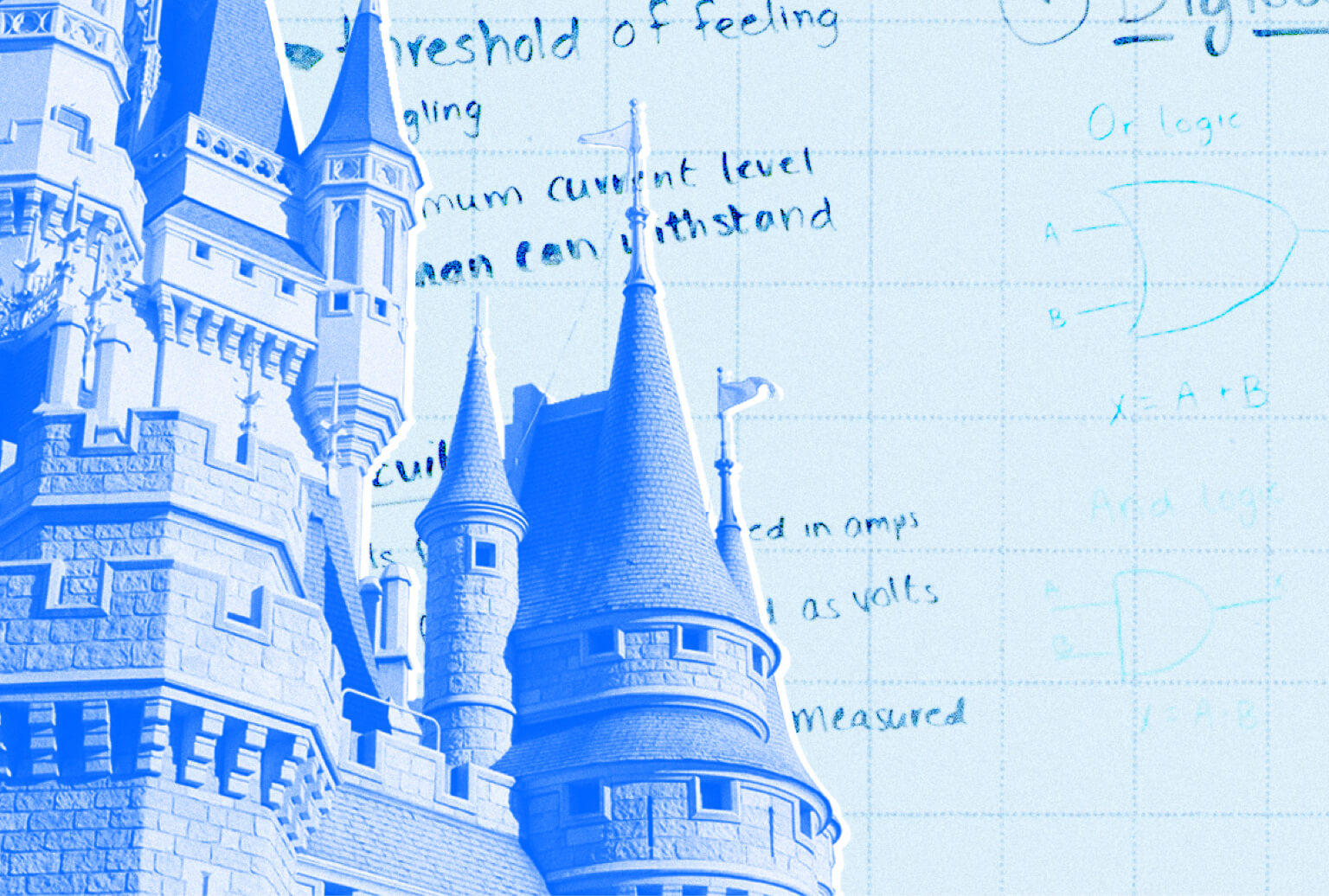 Castle rooftop and spires superimposed over a graph paper background.