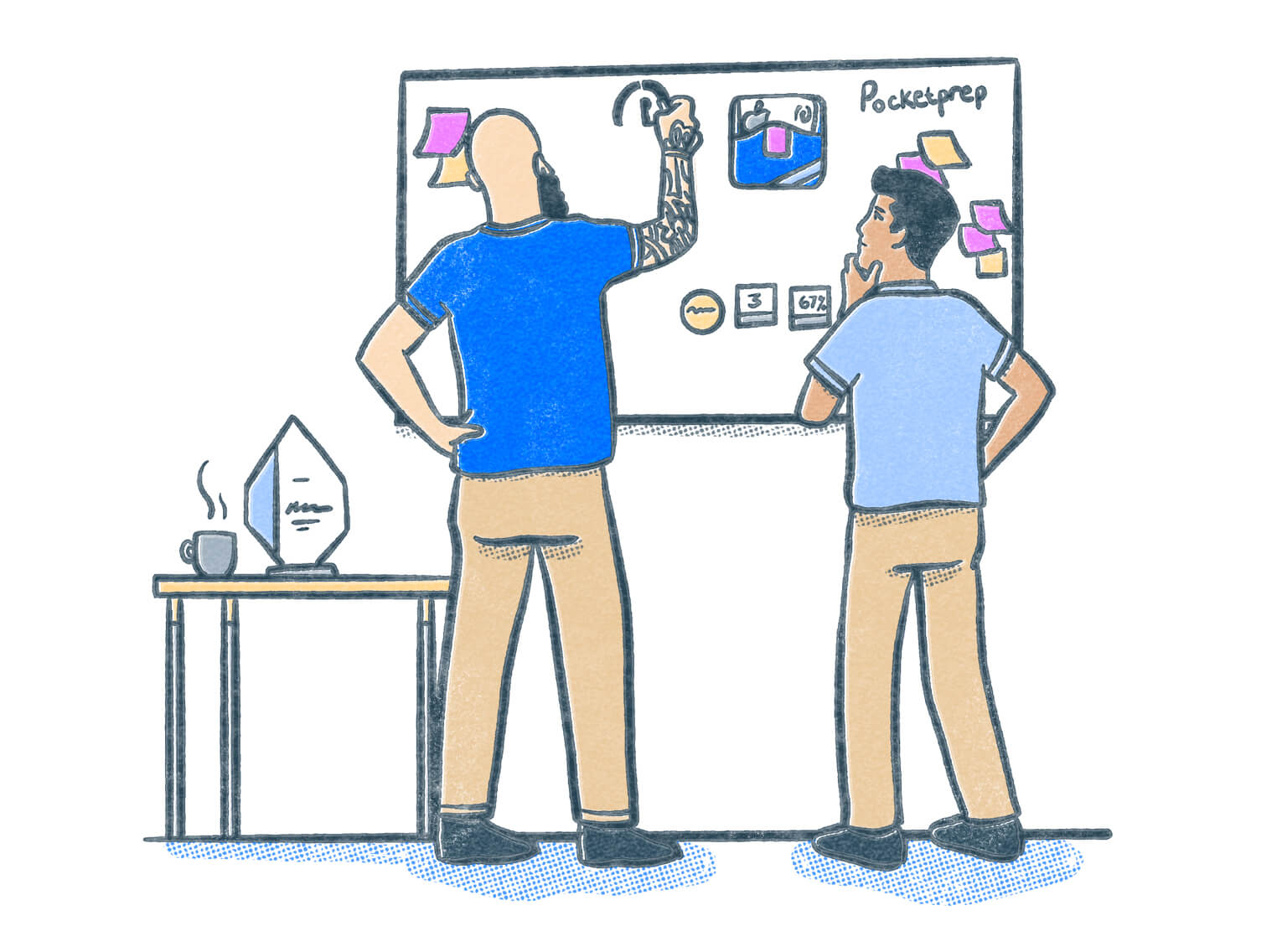 Co-founders Peter and Ken work at a whiteboard to dream up Pocket Prep. Illustration.