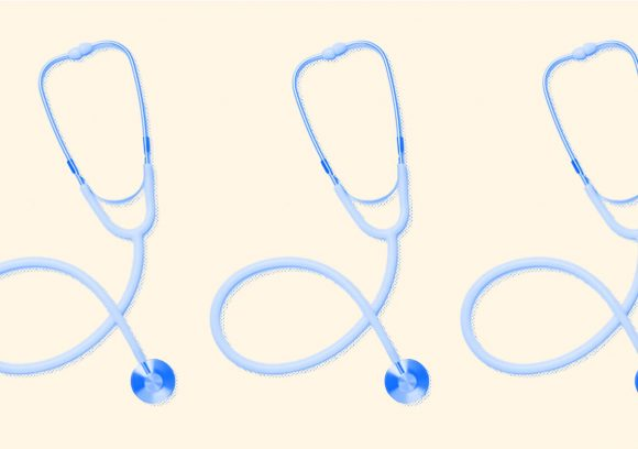 Three blue-tinted stethoscopes in a row on a yellow background.
