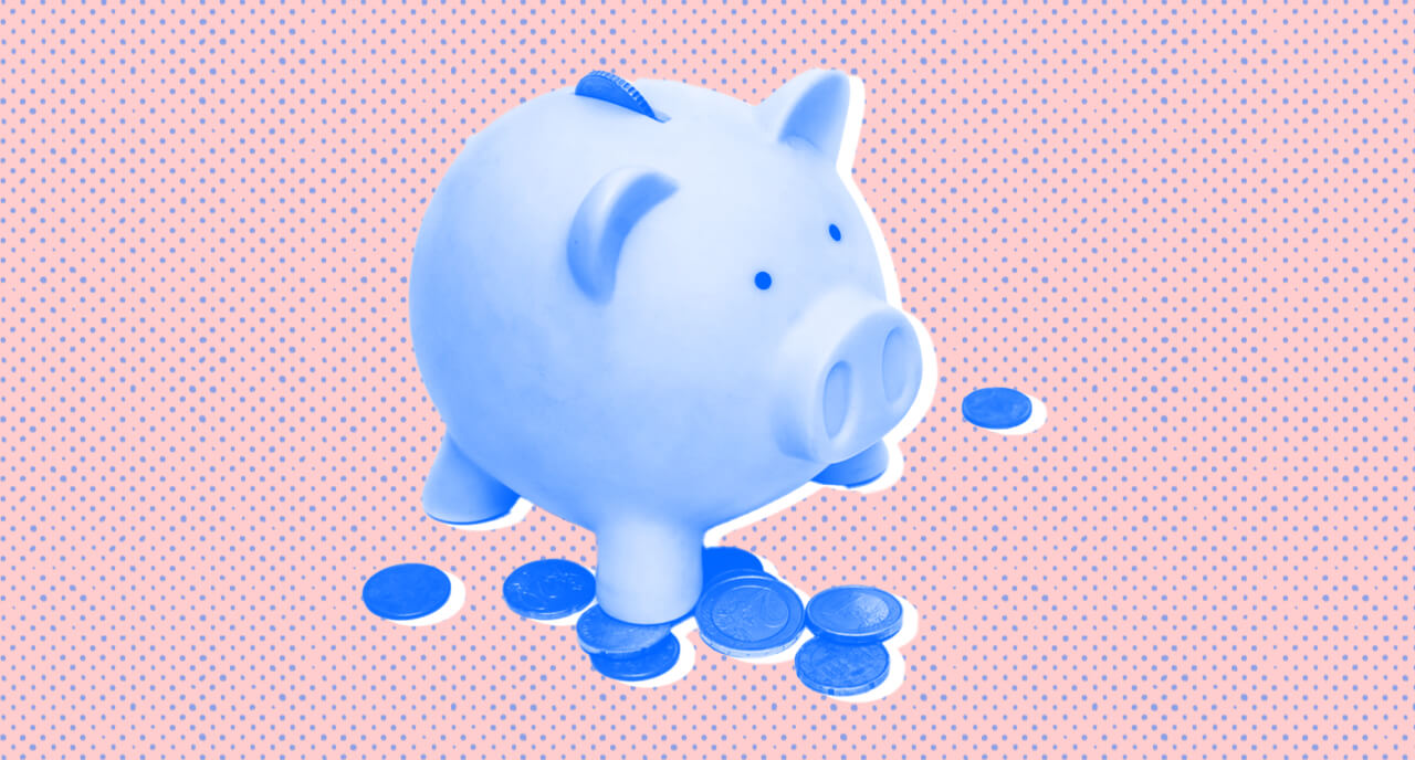Piggy bank on pink background with coins scattered around the base. Halftones.