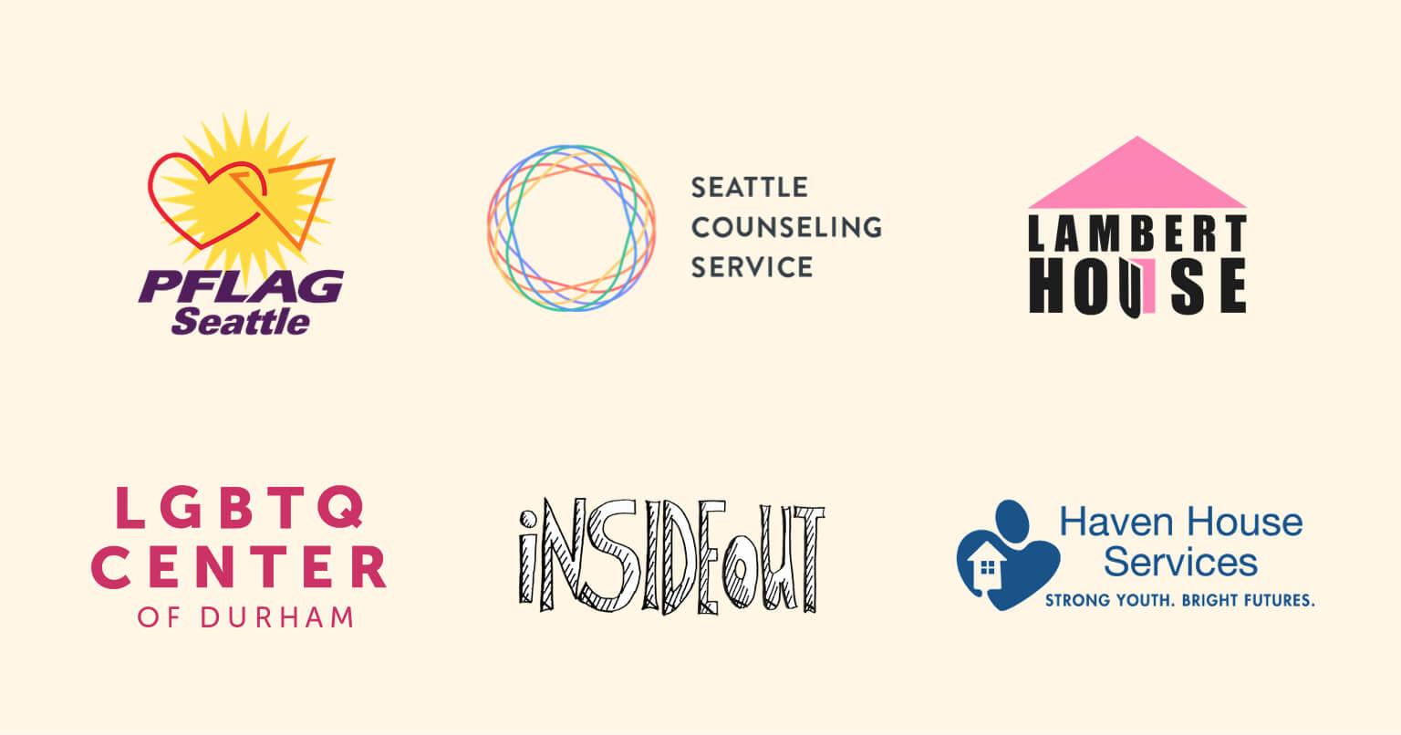 Logos of six LGBTQ organizations.
