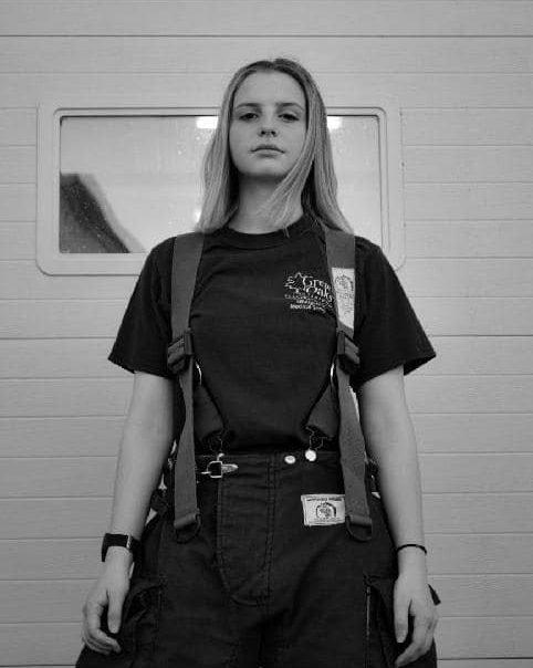 LaKota Hart in a firefighter uniform.