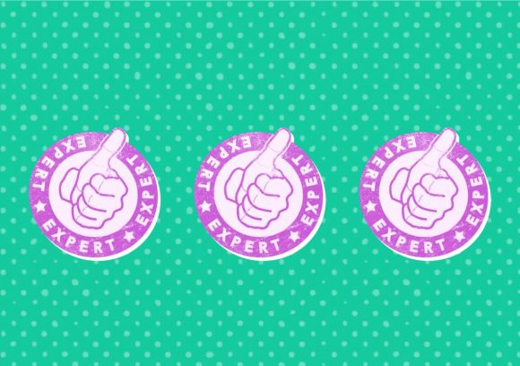 Three purple badge illustrations showing a thumbs up with the word 'expert' encircling it on a green background.