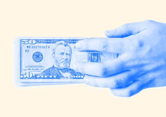 Blue-toned hand grabbing onto a stack of fifty dollar bills on a yellow background.