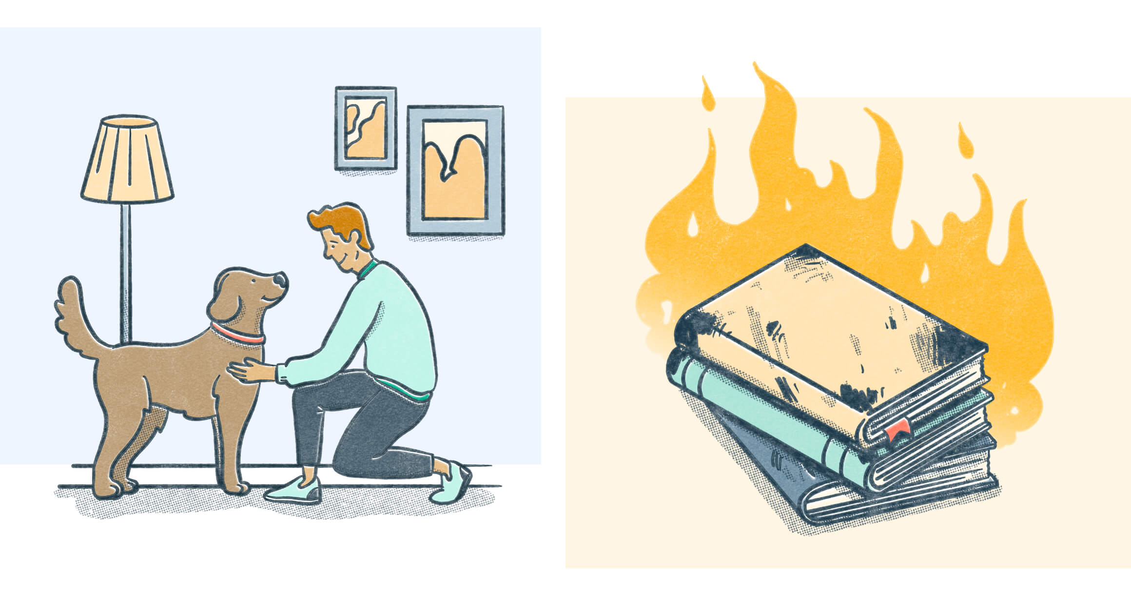 A man playing with his dog on the left and a stack of books on fire on the right. Illustration.