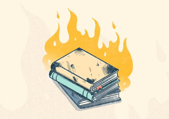 A stack of book on fire. Illustration.