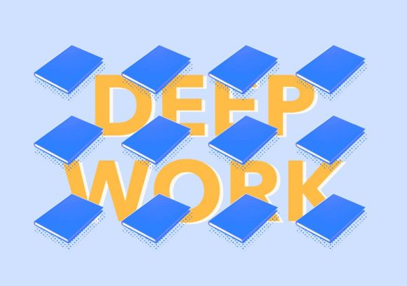 Twelve blue books overlaid on a blue background with yellow words 'Deep Work' behind.